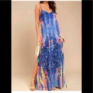 Flying Watercolors Royal Blue Print Maxi Dress